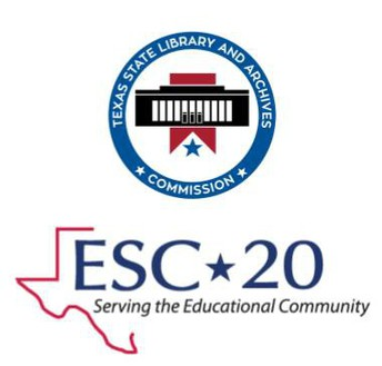 Texas State Library and Archives Commission icon and ESC-20 Serving the Educational Community icons
