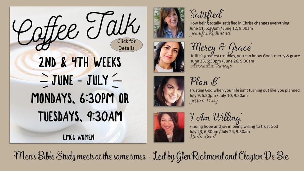 Coffee Talk at La Mirada Christian Church Women's Ministries with Jennifer Richmond, Jessica Perry, Alex Tamayo, Linda Bond