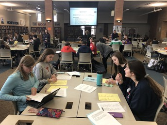 UHS Freshmen work on scheduling with counselors last week.