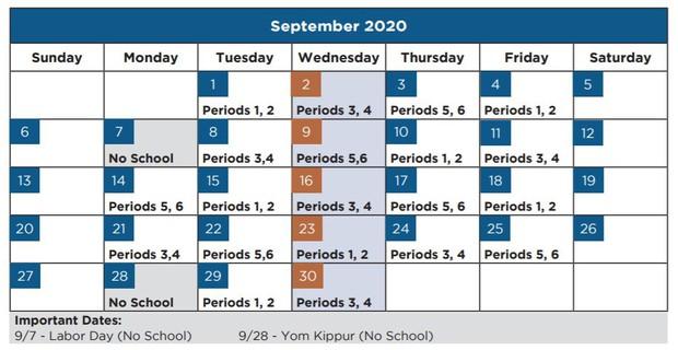 Middle School Calendar of Classes