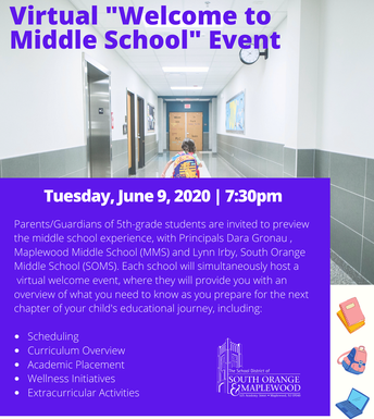 "Virtual ""Welcome to Middle School"" Event, Tues., 6/9"