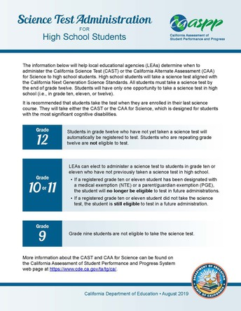 Updated Science Test Administration for High School Students Flyer