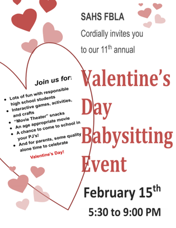 FBLA Valentine's Babysitting Event, Feb. 15th