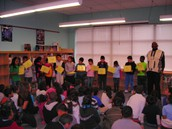 3rd graders perform with storyteller, Decee Cornish