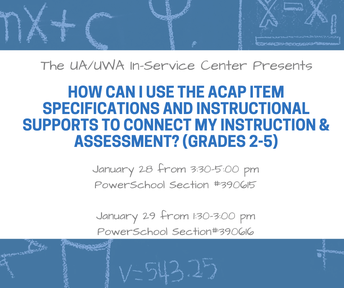 How Can I Use the ACAP Item Specifications and Instructional Supports to Connect my Instruction & Assessment? (January 28 and 29)