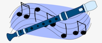 blue recorder with musical notes in background