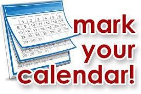 Mark your Calendars....