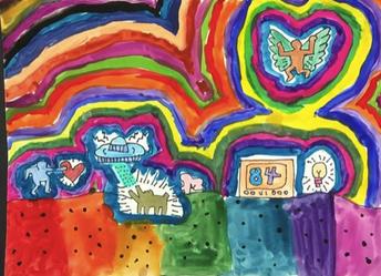 "3rd grade ""Keith Haring Dancing Figures"""
