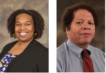 Headshots of two people of color in professional clothing, one man and woman.