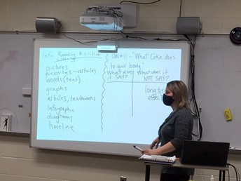 Mrs. Lock facilitating classroom discussion during ELA