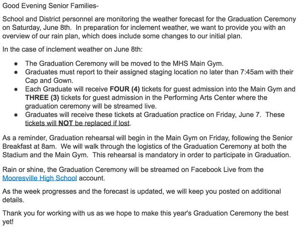 Rain Plan for Graduation
