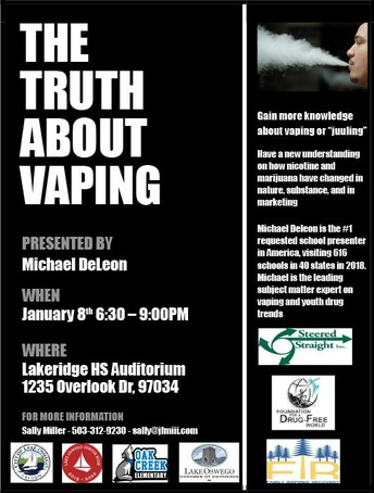 Flyer fior Truth about Vaping Presentation