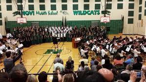 Choir performing in gym