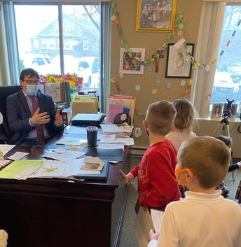 Mr. C Gets an Easter Egg Hunt Visit from Kindergarten