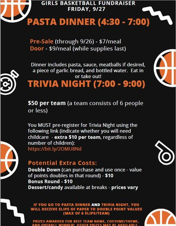 Girls Basketball Pasta Dinner and Trivia Night September 27th