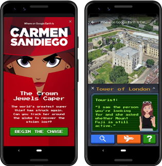 Carmen Sandiego games that integrate with Google Earth