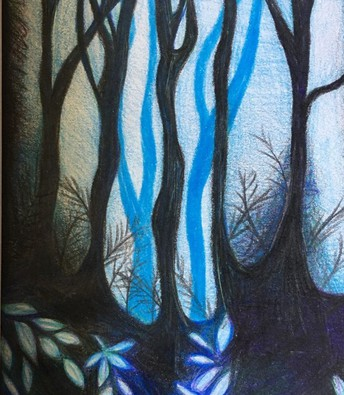 water color drawing of a blue forest