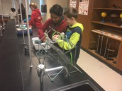 Students designing and building bridges