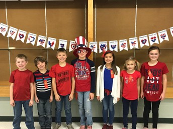Third Graders Dressed in Red, White, and Blue
