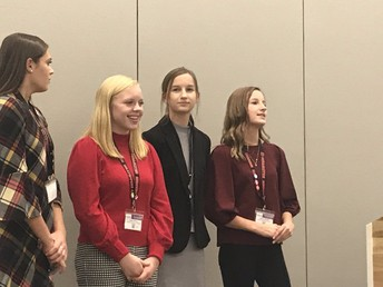 Chardon High School students presenting at the OSBA conference.