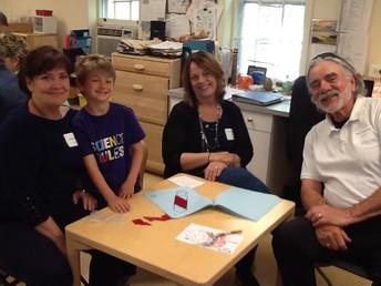 Grandparents and Grandfriends working with Kindergarten.