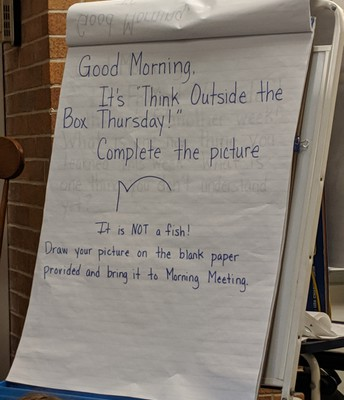 Ms. Burries's 3rd grade Morning Message to encourage Lions to think outside of the box!