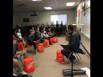 Mr. Cory Rickert (from our local band Rickety Bridge) teaching percussion to our 5th graders