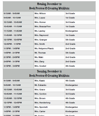 Book Fair Classroom Schedule