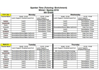 8th Grade Tutoring Schedule