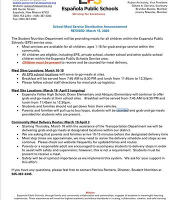 Espanola Public Schools School Meal Service Distribution Announcement