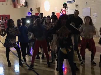 Carver teachers and students on the dance floor.