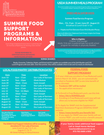 SOMSD USDA Summer Food Support Program Continues Through August 21