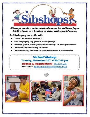 Virtual SIBSHOP -                            November 10 at 6:30 pm