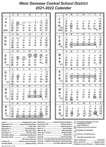 District Calendar for 2021-2022 Approved at BOE Meeting
