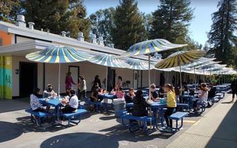 Lunch time at the blue tables!