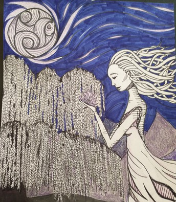drawing of sliver moon with woman with long flowing hair