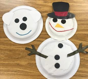 Paper plate craft polar bear and snowman