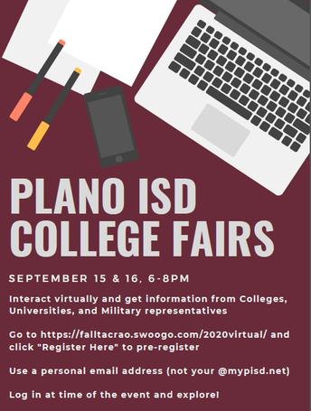 Plano ISD College Fairs - Sept. 15 & 16