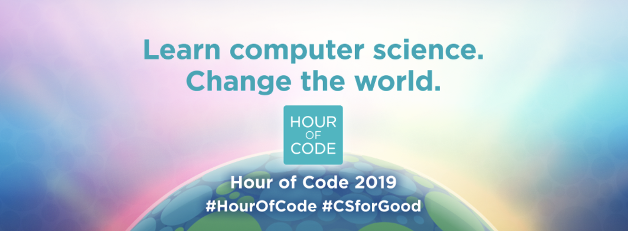 "Code.org 2019 Hour of Code #CSforGood theme glowing earth with text ""Learn computer Science. change the world."""