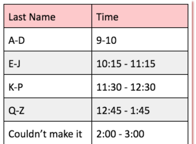 Underclass Drop off and Pick up Schedule Image