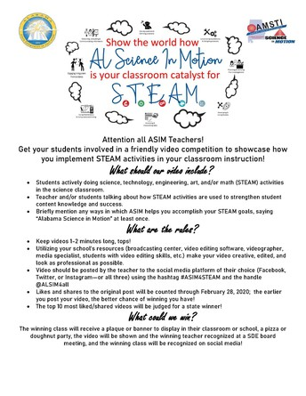 ASIM STEAM Video Competition--Open Now! Ends on February 28th!