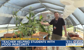 Durham teacher spotlighted on WRAL for fighting for food justice by building garden for students