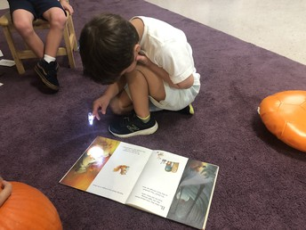 Reading books with a finger flashlight