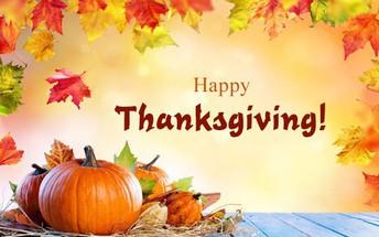 Thanksgiving Holiday Week!!! Monday Nov 25th-Friday Nov 29th