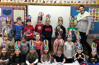 Mrs. Maheu's Park Elementary Kindergarten Class Celebrates the 100th Day of School, complete with special hats.