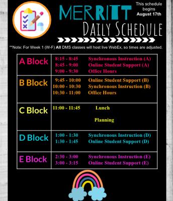 Merritt Daily Schedule