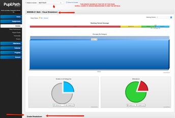 Screenshot of grades