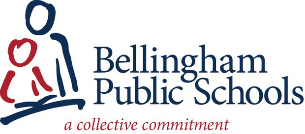 The Bellingham public schools collective logo in blue and red