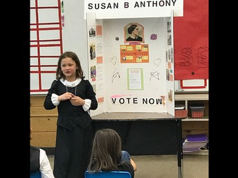 2nd & 3rd graders sharing about famous people  in costume.