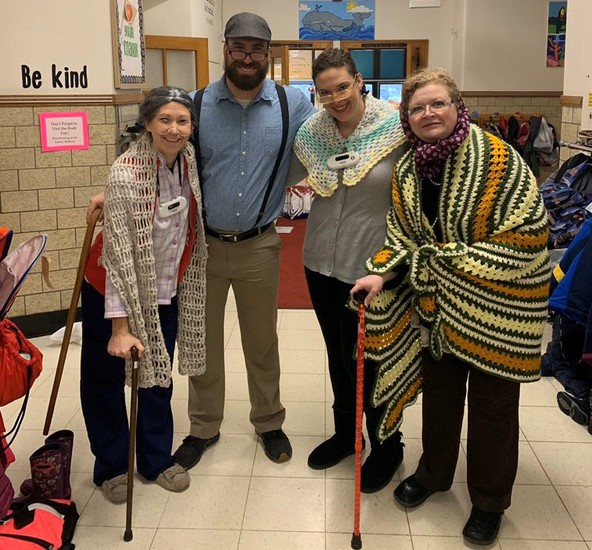 (l to r) Mrs. Ridgeway, Mr. Laseak, Mrs. Maheu & Mrs. Setzer on the 100th Day of School